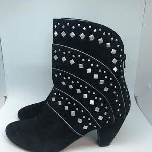 Vaneli Black Suede Ankle Boots with Silver Studs